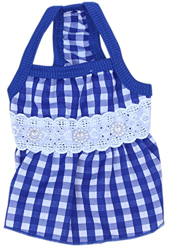 Costume Design Courses London - Freerun Fashion Cute Summer Rhinestone Faux Pearl Plaid Dress Clothes Apparel Costumes - Blue, XS