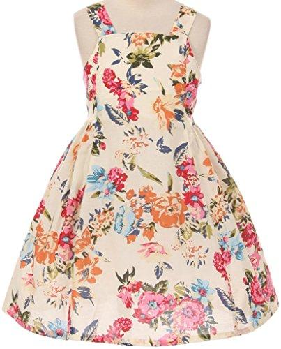 Big Bold Border (Casual Bold Strap Square Neck Zip Up Dress for Big Girl Floral 8)