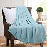 "Flannel Throw Blankets, Bed Blanket by Bedsure-100% Plush Microfiber(Warm/Cozy/Fluffy), Lightweight and Easy Care, Couch Blanket, Twin Full/Queen King(50""x60"" Lt Blue)"