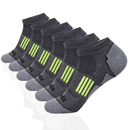 (JOYNÉE Men's 6 Pack Athletic No Show Performance Cushioned Low Cut Running Socks,Grey,Sock Size:10-13)