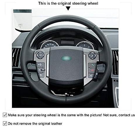 OPOPDLSA Coprivolante per auto in pelle artificiale nera per Land Rover Freelander 2 2013-2015