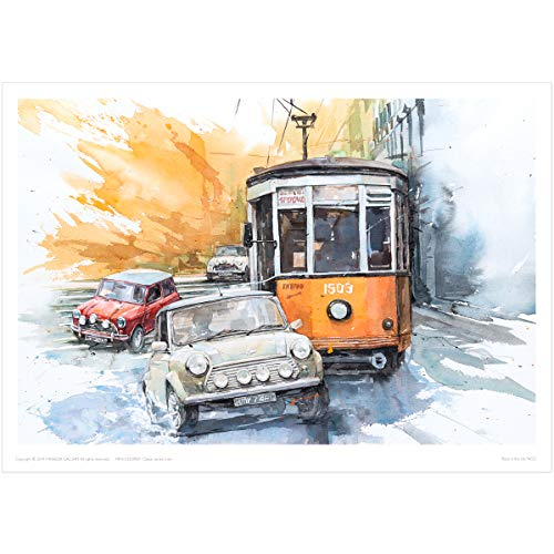 MINSEOK Old Car Poster Print | Premium A3 Art Poster (492 x 420mm) | Perfect Car Art Gifts (Mini Cooper Old Car, Tram)