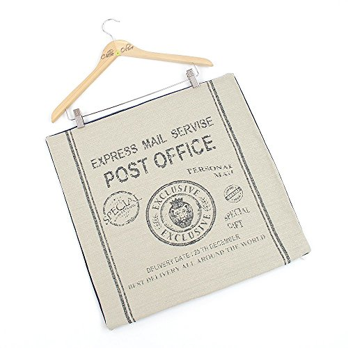 Chloe & Olive Post + Deliver Collection - Cotton Velvet Post Office Stamp Retro Designer Decorative Throw Toss Pillow Cover - Cushion Sham Navy Blue, Beige, 1 Cushion Case for 20 x 20 Square Insert)