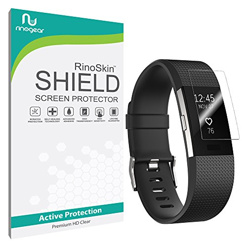 Fitbit Charge 2 Screen Protector [8-PACK] [Military-Grade] RinoGear Premium HD Invisible Clear Shield w/ Lifetime Replacements