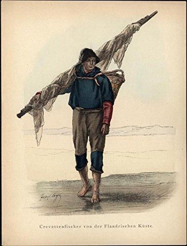 Fisherman of Flanders Flemish Belgium fishing net c. 1875 antique ethnic costume -