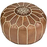 Natural Brown Moroccan Leather Pouf Ottoman, Unstuffed