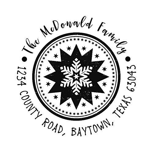 Custom Self Inking Family Address Stamp,Holiday Present Gift Christmas Snowflake Decorative Design Signet Seal Circular Diameter 1.65inch -