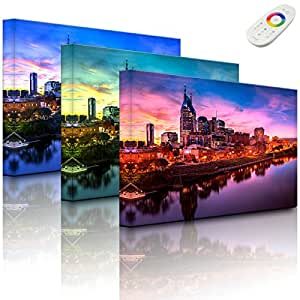 Lightbox Iluminado   Nashville Skyline Panorama   60x 40cm   Fully Lighted