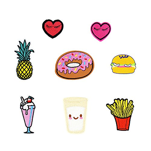 Cute Embroidered Patches Applique Iron on Clothes Pants Backpack Hat Socks Craft DIY Accessory (8PCS/Set)