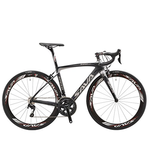 SAVADECK HERD5.0 700C Road Bike T800 Carbon Fiber Frame / 50MM Wheelset / Fork / Handlebar / Seatpost with Shimano 22 Speed 105 5800 Group Set HUTCHINSON 25C Tire and Fizik Saddle Ultra-light 18.30lb