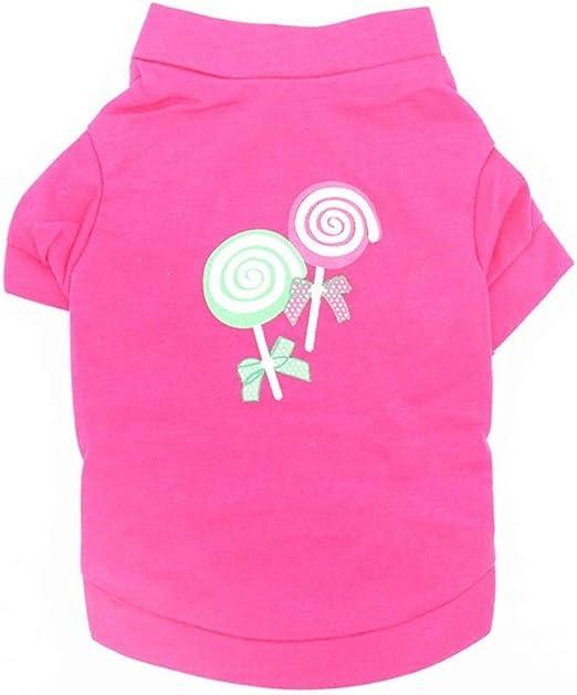 W.Z.H.H.H Traje de Mascota Ropa for Mascotas Cachorro Camiseta de algodón Ropa for Perros Cómoda y Transpirable Rosa roja Chica Candy Bar Pattern Ropa para Mascotas (Color : Rosy, Size : L):