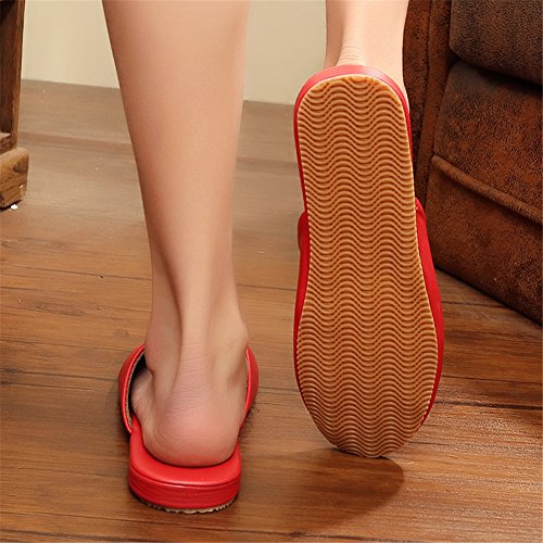 PU Autumn W Rouge Floor Wooden Spring TELLW Women for Slippers Men Summer Mute and Leather UtWOWwqE