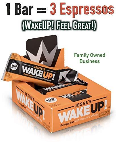 All Natural Caffeinated Energy Bar (1 Bar = 3 Espressos) by Jesse's WakeUP! Dark Chocolate Rice Crisp Bar (100 Calories) - Vegan, Kosher, Soy Free, Gluten Free, Nut Free, Non-GMO (6 Count)
