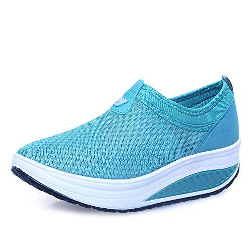 Femmes Enllerviid Glisser Sur Des Chaussures De Plate-forme En Maille Forme Jusquà La Marche Fitness Toning Espadrilles 809 Ciel Bleu