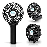 Battery Operated Mini Handheld Fan Portable Cooling Fan Rechargeable with USB-3 Speed Black