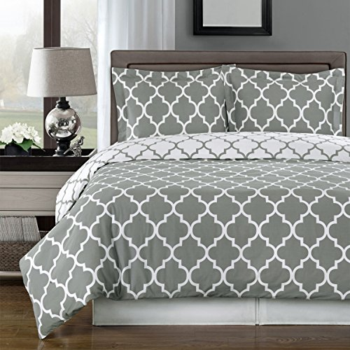 Grey and White Meridian Reversible 3-piece Full/ Queen Cover (Duvet-Cover-Set) 100 % Cotton 300 TC