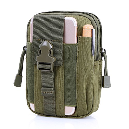 BIENNA Tactical Bag, Small Military Pouch Molle Gear Nylon EDC Utility Gadget Zipper Waist Pack Wallet with Phone Holster Holder Pocket Cover for Phones Smaller Than 5.5