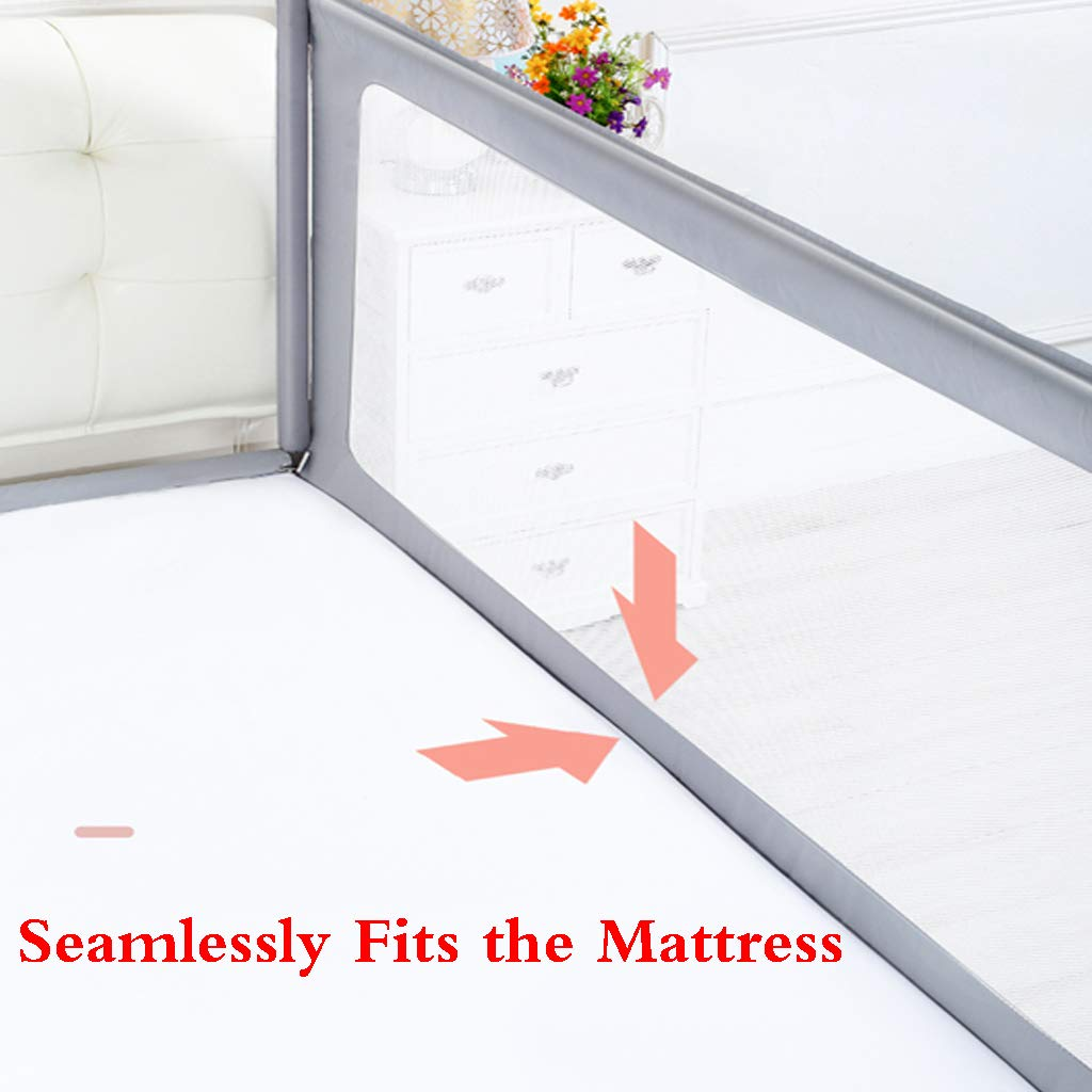 SONGTING Guardrail Kids Safety Bed Rail Bed Fence Baby Child Toddler Bed Rail Safety Breathable Child Prevention Bedside Baffle Bed Rail - Single Foldable Safety Bedrail with Ventilated Mesh for by SONGTING Guardrail (Image #4)