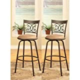 Bar Stools with Backs Bronze Finish Scroll Back Adjustable Metal Swivel Counter Height Bar Stools (Set of 2)