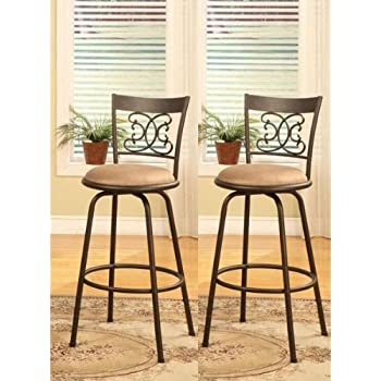 this item bronze finish scroll back adjustable metal swivel counter height bar stools set of 2