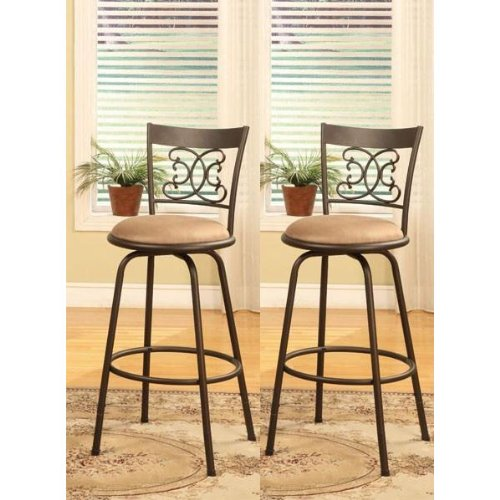 Superb Bronze Finish Scroll Back Adjustable Metal Swivel Counter Height Bar Stools  (Set Of 2)
