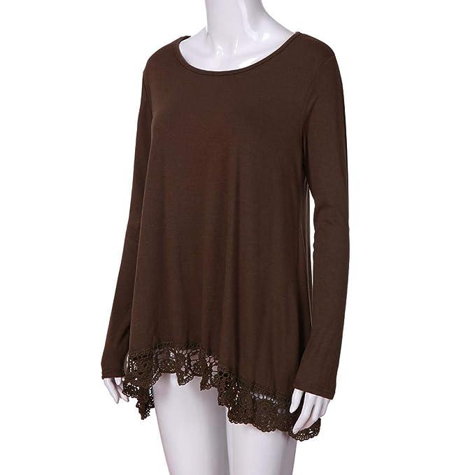 Mujer Camisas Lonshell Moda Borde de Encaje Manga Larga Camisa Casual Dobladillo Asimétrico Blusa Talla Grande Suelto Tops Ocio Liso Camiseta: Amazon.es: ...