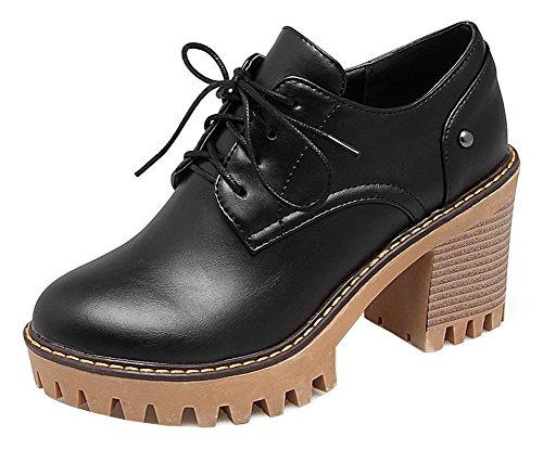 Allhqfashion Femmes Lacets Talons Hauts Solides Ronds Bout Fermé Chaussures-chaussures Noires