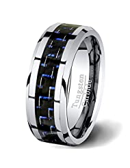 Mens Wedding Band 8mm White Tungsten Ring Blue Carbon Fiber Comfort Fit
