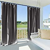 NICETOWN Outdoor Curtain Panel 108 Inches Long, Thermal Insulated Tab Top Blackout Outdoor Window Curtain/Drape for Lawn & Garden (1 Panel,52 x 108 Inch, Gray)