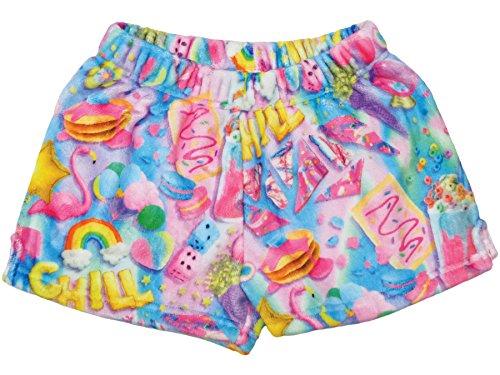 - iscream Big Girls Silky Soft Print Plush Shorts - Chill, Small