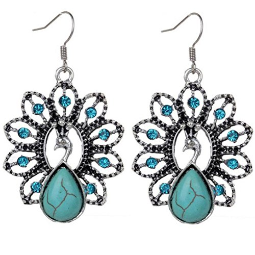 Bolayu Woman Bohemia Vintage Peacock Turquoise Earrings Delicate Carved Hollow Jewelry - Vintage Strong Man Costume