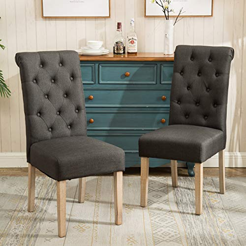 Roundhill Furniture Habit Solid Wood Tufted Parsons Charcoal Dining Chair, Set of 2 (White Dining And Black Set)