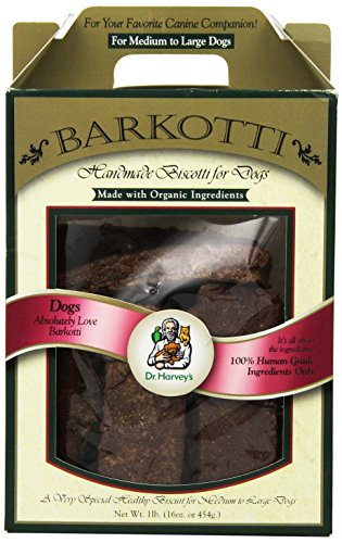 Dr. Harvey's Barkotti Organic Biscotti Treats for Medium/Large Dogs, 1-Pound Box