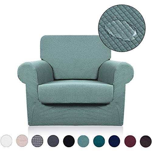 Chair Cover with Separate Seat Cushion Cover(2 Pieces Set) - Water Repellent,Knitted Jacquard,High Stretch - Living Room Couch Slipcover/Protector/Shield for Dog Cat Pets(1 Seater Sofa,Sage)