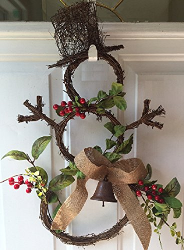 Grapevine Snowman Door Wreath Faux Red Berries Artificial Greens Burlap Bow Accented With Rusty Bell Holiday Winter (Grapevine Christmas Wreath)