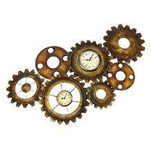 Antiqued Finish Metal Gears Wall Clock Steampunk Decor