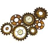 "Click Clock Antiques Finished Metal Wall Decor 34x17 """