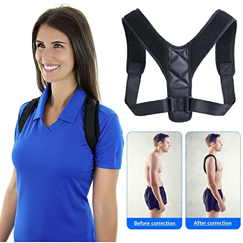 Best Posture Corrector & Back Support Brace for Men Women & Kids, Adjustable Upper Back Brace Perfect for Clavicle Support, Medical Kyphosis, Natural Shoulder Correction, High Back & Neck Pain Relie by CYG&CL