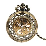 Retro Men's Mechanical Pocket Watch, Classic Hollow Roman Number Pocket Watch