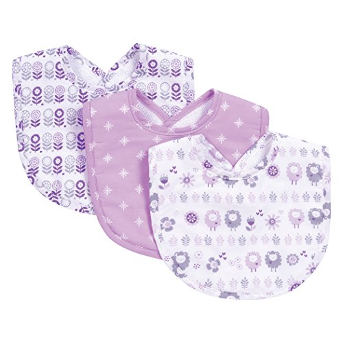Trend Lab Lambs and Flowers 3 Piece Bib Set, Purple/Gray/White