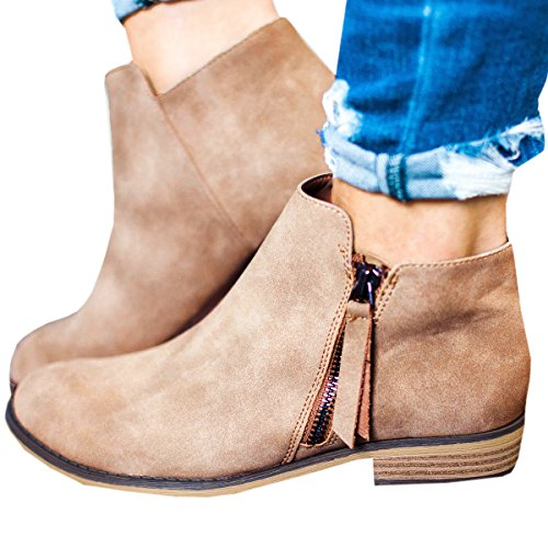 Booties Shoes Heel Chunky Side Zipper Western 1 Low Stacked Ankle Womens khaki Huiyuzhi Boots Yqx61TFwc