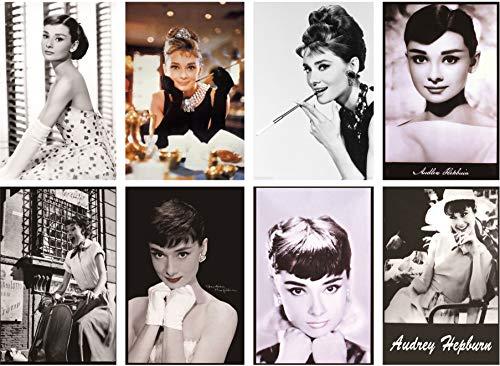 Audrey Hepburn Retro Vintage Tin Sign 8pcs 30cm*20cm (7.87*11.81inch)