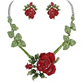 EVER FAITH Women's Austrian Crystal Rose Flower Necklace Stud Earrings Set Green w/Red Silver-Tone