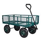 Livebest Utility Wagon Farm and Heavy Duty Cart with Removable Folding Sides, 550 Lb. Load Capacity,Green Coated, Perfect for Garden