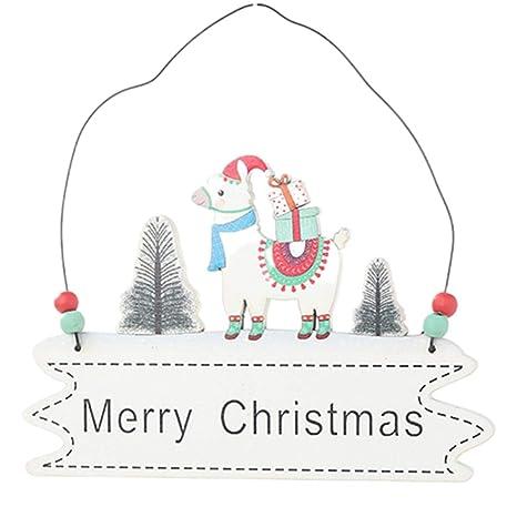 Amosfun Madera Feliz Navidad Cartel de Pared Alpaca ...