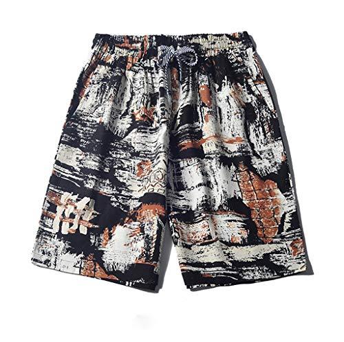 iCODOD Men's Shorts Linen Shorts Sports Work Casual Swim Trunks Printed Beach Shorts Pants Trousers White M