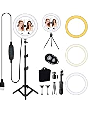 LED Selfie Ring Licht met Statief Stand, Queta 12 Inch Ring Licht met 3 Kleurmodi en 10 Helderheid, USB Powered, Telefoonhouder voor Live Streaming, Make-up, YouTube, Tiktok Vlog en Fotografie (12 inch)