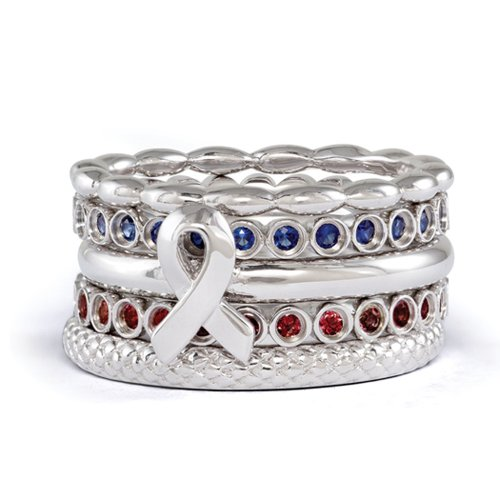 Stackable Sterling Silver, Garnet & Created Sapphire Awareness Ribbon Ring Set Size 10