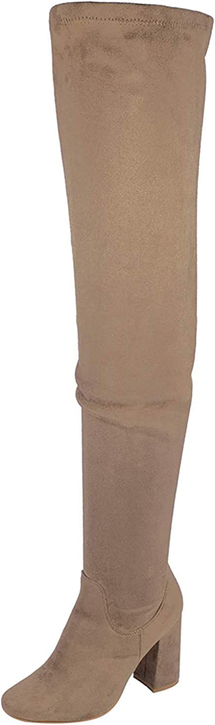 Nature Breeze Elantra 01 Womens Stretchy Thigh High Chunky Heel Suede Boots