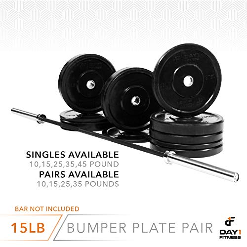 """Day 1 Fitness Olympic Bumper Weighted Plate 2"""" for Barbells, Bars – 15 lb Set of 2 Plates - Shock-Absorbing, Minimal Bounce Steel Weights with Bumpers for Lifting, Strength Training, and Working Out by Day 1 Fitness (Image #5)"""